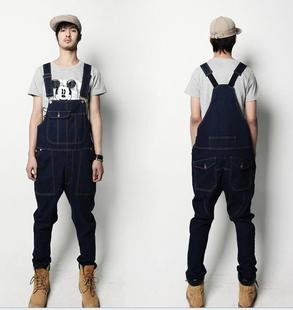 Men-s-fashion-jeans-casual-trousers-overalls-casual-pants-suspenders-man